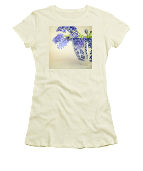 Blue Muscari Flowers In Blue And White China Cup Women's T-Shirt (Junior Cut) by Lyn Randle