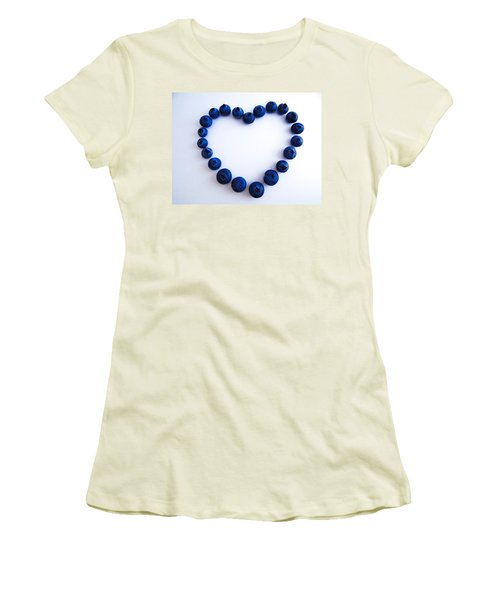 Women's T-Shirt (Junior Cut) featuring the photograph Blueberry Heart by Julia Wilcox