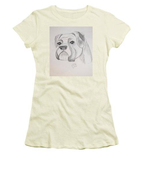 Women's T-Shirt (Junior Cut) featuring the drawing Boxer No Crop by Maria Urso