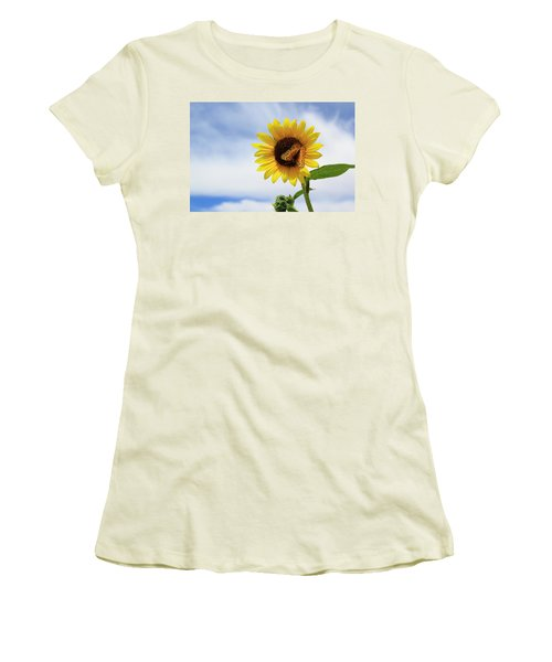 Butterfly On A Sunflower Women's T-Shirt (Athletic Fit)