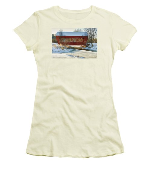 Women's T-Shirt (Junior Cut) featuring the photograph Covered Bridge by Eunice Gibb