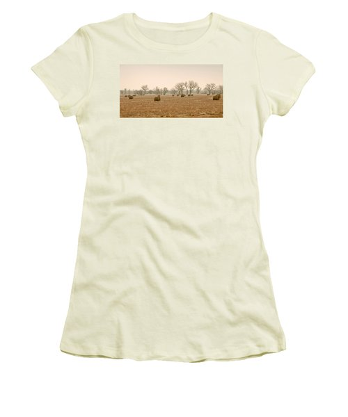 Women's T-Shirt (Junior Cut) featuring the photograph Earlying Morning Hay Bails by James Steele