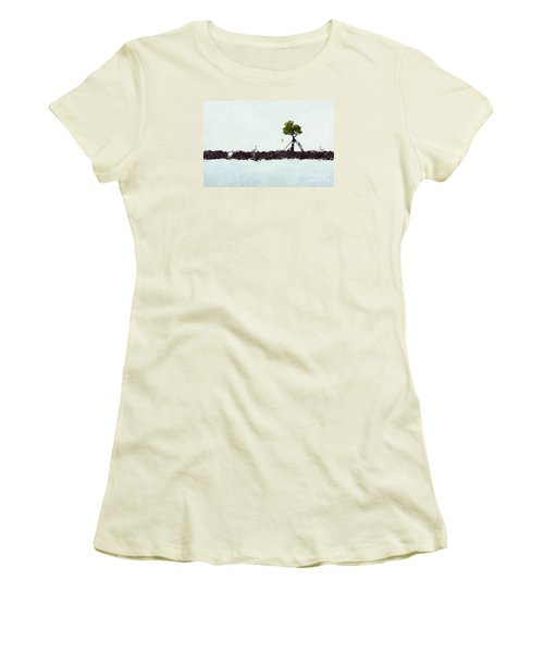 Falling Mangrove Leaf Women's T-Shirt (Junior Cut) by Dan Friend