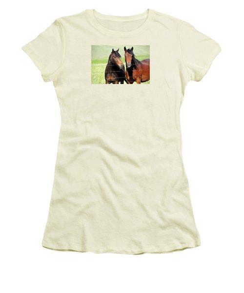 Women's T-Shirt (Junior Cut) featuring the photograph Friends by Fran Riley