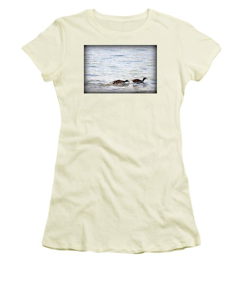 Women's T-Shirt (Junior Cut) featuring the photograph Frolicking Fun by Kathy  White