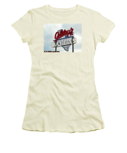 Women's T-Shirt (Junior Cut) featuring the photograph Gilleys Dallas by Charlie and Norma Brock