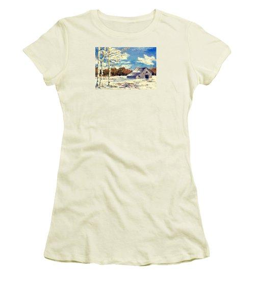 Women's T-Shirt (Junior Cut) featuring the painting Grandma's Barn by Lou Ann Bagnall