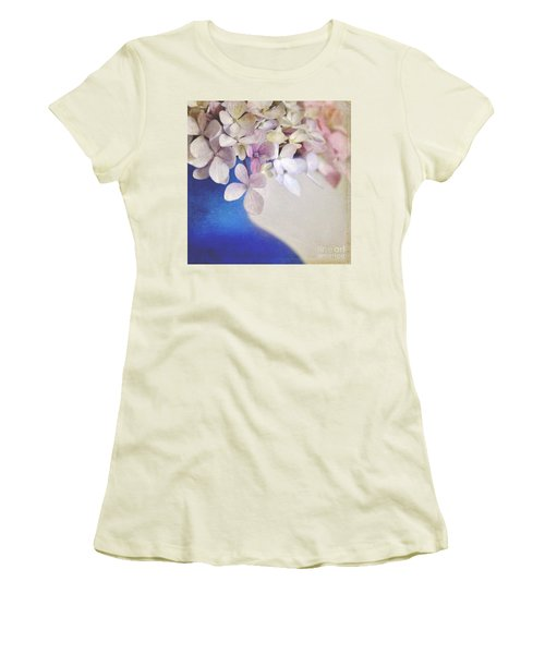 Hydrangeas In Deep Blue Vase Women's T-Shirt (Junior Cut) by Lyn Randle