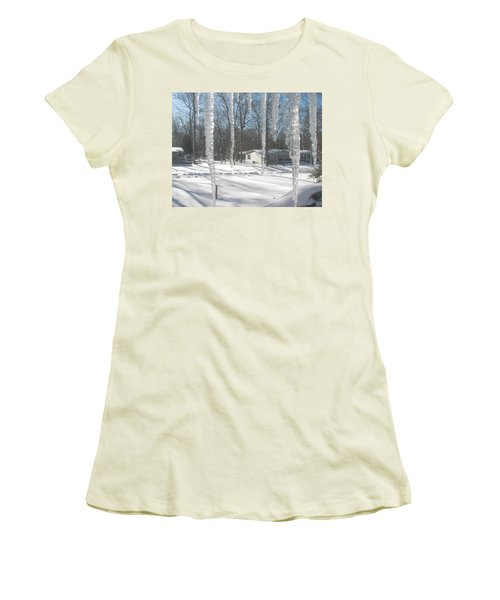 Women's T-Shirt (Junior Cut) featuring the photograph Icicles Through The Window Glass by Pamela Hyde Wilson