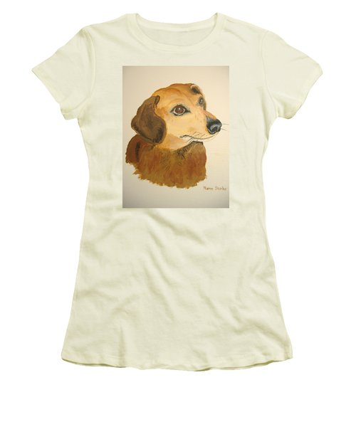 Women's T-Shirt (Junior Cut) featuring the painting Lovable Dachshund by Norm Starks