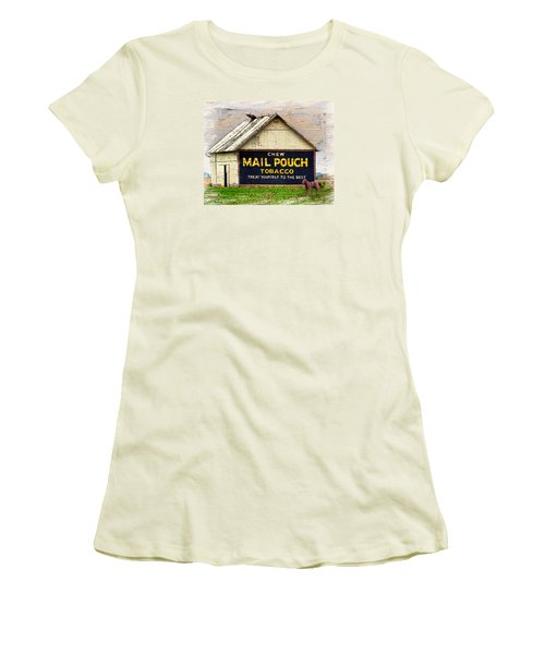 Women's T-Shirt (Junior Cut) featuring the digital art Mail Pouch Barn by Mary Almond