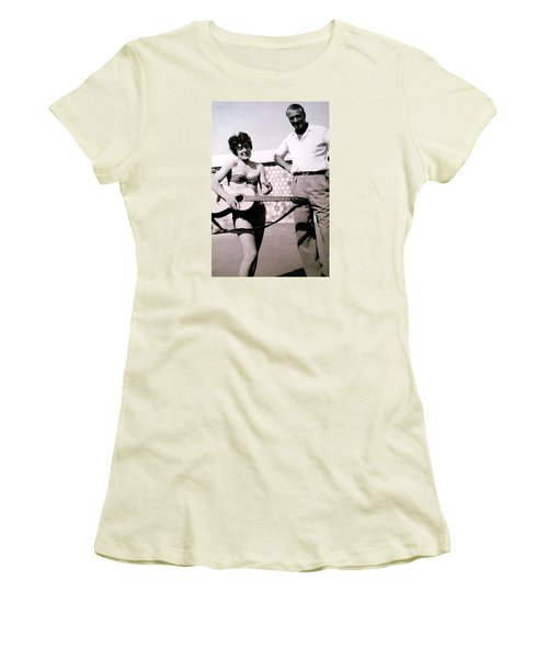 Mama Chris And Gary Cooper In Monte Carlo 1958 Women's T-Shirt (Junior Cut) by Colette V Hera  Guggenheim