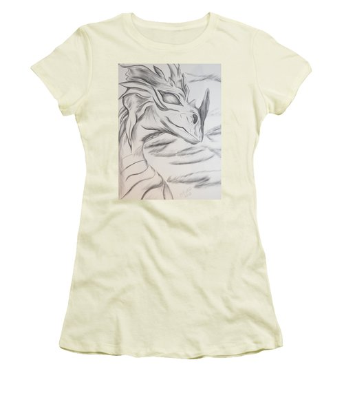 Women's T-Shirt (Junior Cut) featuring the drawing My Dragon by Maria Urso
