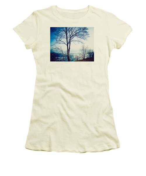 Women's T-Shirt (Junior Cut) featuring the photograph Mystic Blue by Sara Frank