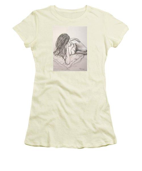 Nude On Pillow Women's T-Shirt (Junior Cut) by Rand Swift