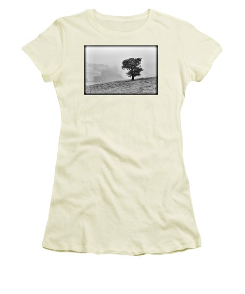 Women's T-Shirt (Junior Cut) featuring the photograph Oak Tree In The Mist. by Clare Bambers