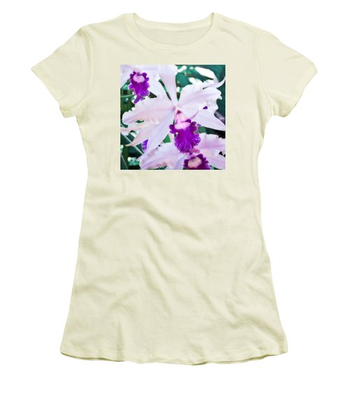 Women's T-Shirt (Junior Cut) featuring the photograph Orchids White And Purple by Steven Sparks