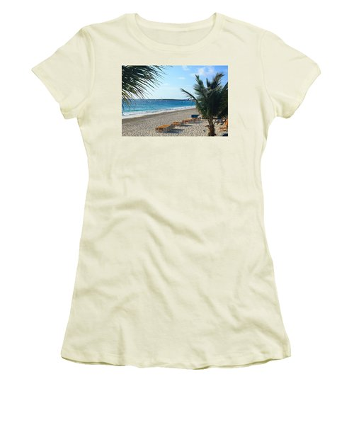 Orient Beach St Maarten Women's T-Shirt (Junior Cut) by Catie Canetti