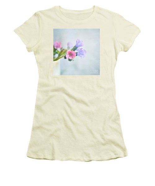 Pale Pink And Purple Pulmonaria Flowers Women's T-Shirt (Junior Cut) by Lyn Randle