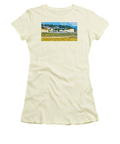 Women's T-Shirt (Junior Cut) featuring the digital art Pegwell Bay by Steve Taylor