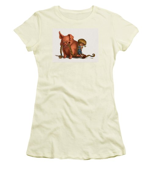 Pig Tales Chomp Women's T-Shirt (Junior Cut) by Andy Catling