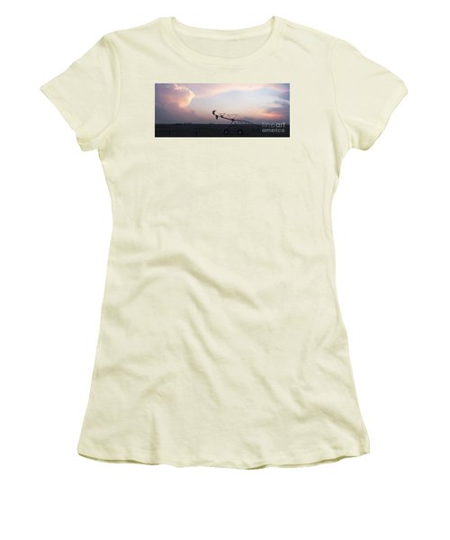 Pivot Irrigation And Sunset Women's T-Shirt (Athletic Fit)