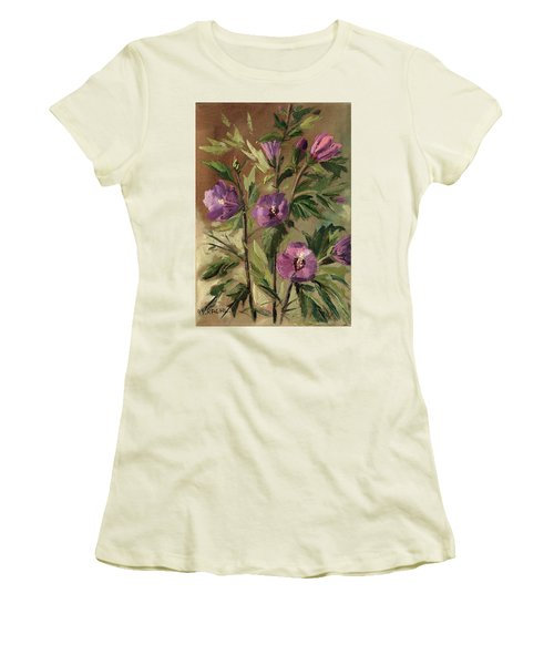 Purple Flowers 2 Women's T-Shirt (Athletic Fit)