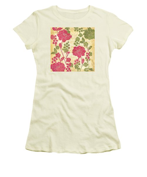 Raspberry Sorbet Floral 1 Women's T-Shirt (Junior Cut) by Debbie DeWitt