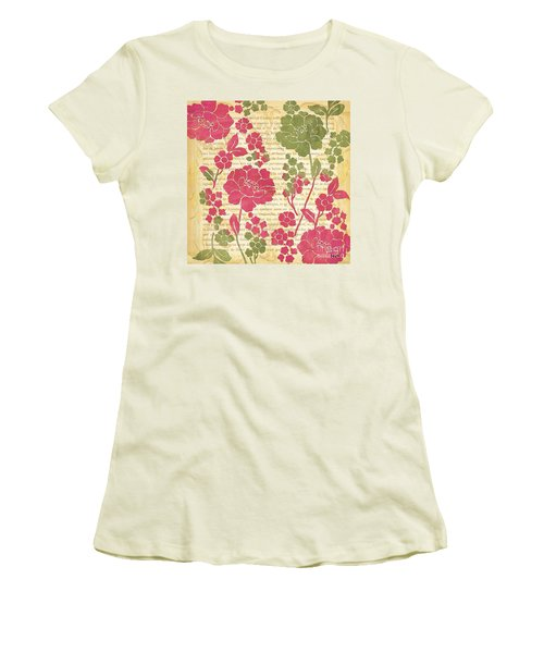 Raspberry Sorbet Floral 2 Women's T-Shirt (Junior Cut) by Debbie DeWitt