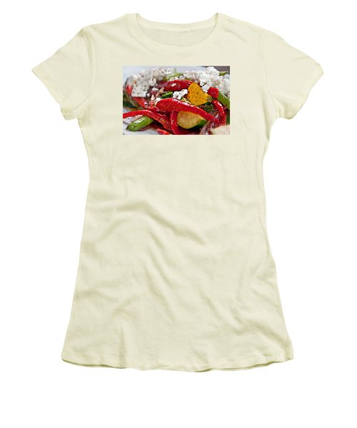 Sauteed Vegetables With Feta Cheese Art Prints Women's T-Shirt (Junior Cut) by Valerie Garner