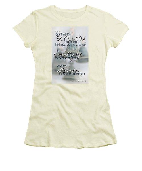 Women's T-Shirt (Junior Cut) featuring the photograph Serenity Prayer With Bells by Vicki Ferrari