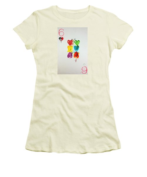 Women's T-Shirt (Junior Cut) featuring the painting Six Of Hearts 2-52  2nd Series  by Cliff Spohn