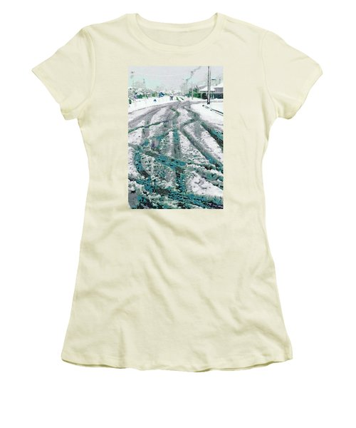 Women's T-Shirt (Junior Cut) featuring the photograph Slipping And Sliding  by Steve Taylor