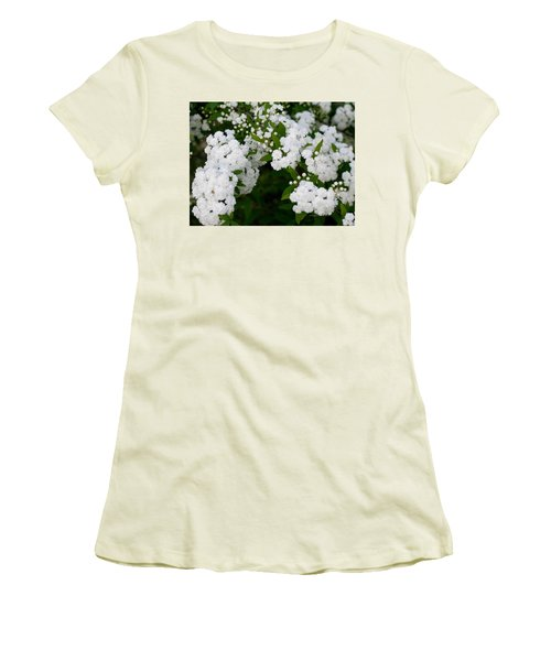 Women's T-Shirt (Junior Cut) featuring the photograph Spirea Blooms by Maria Urso