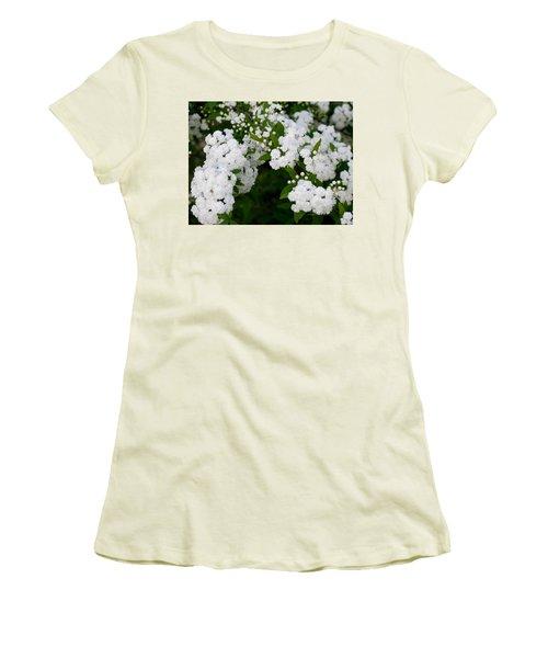 Spirea Blooms Women's T-Shirt (Junior Cut) by Maria Urso