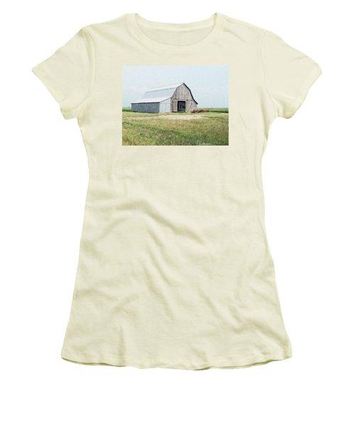 Women's T-Shirt (Junior Cut) featuring the digital art Summer Barn by Debbie Portwood
