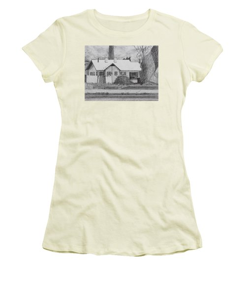 Women's T-Shirt (Junior Cut) featuring the drawing The House Across by Kume Bryant