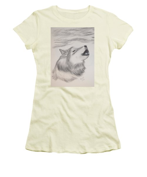 Women's T-Shirt (Junior Cut) featuring the drawing The Howler by Maria Urso