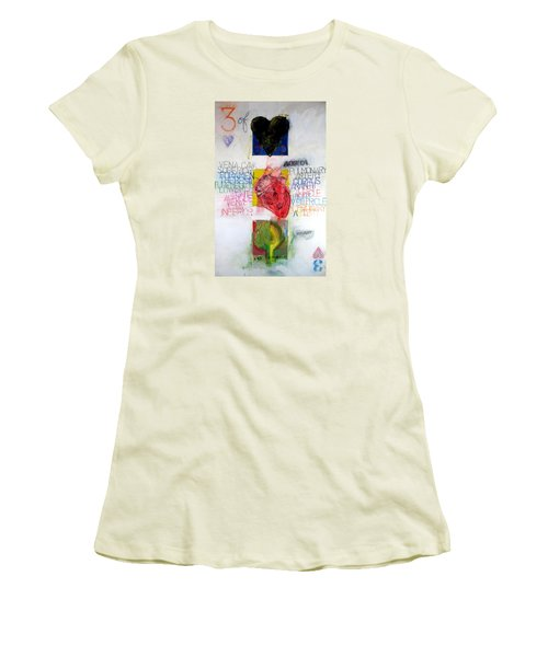 Women's T-Shirt (Junior Cut) featuring the painting Three Of Hearts 32-52 by Cliff Spohn