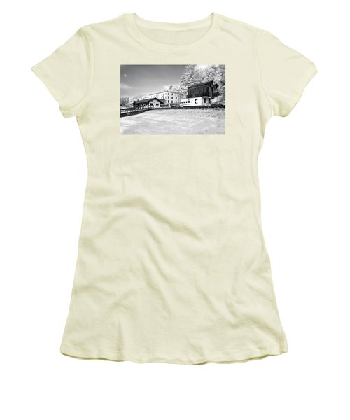 Women's T-Shirt (Junior Cut) featuring the photograph Train Depot by Mary Almond