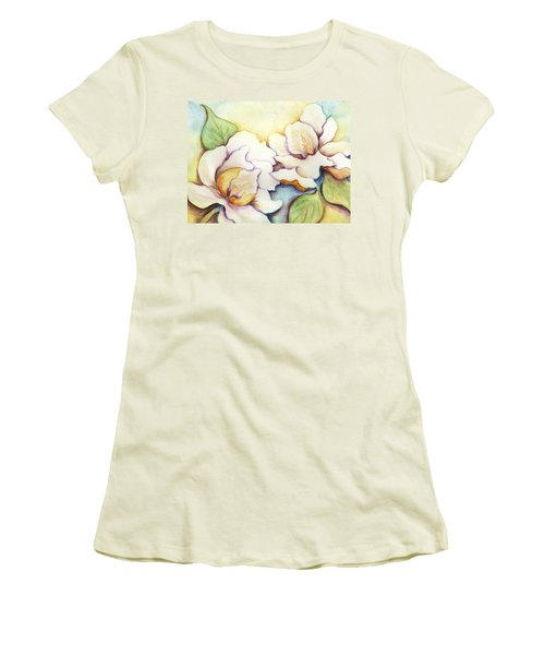 Two Magnolia Blossoms Women's T-Shirt (Junior Cut) by Carla Parris