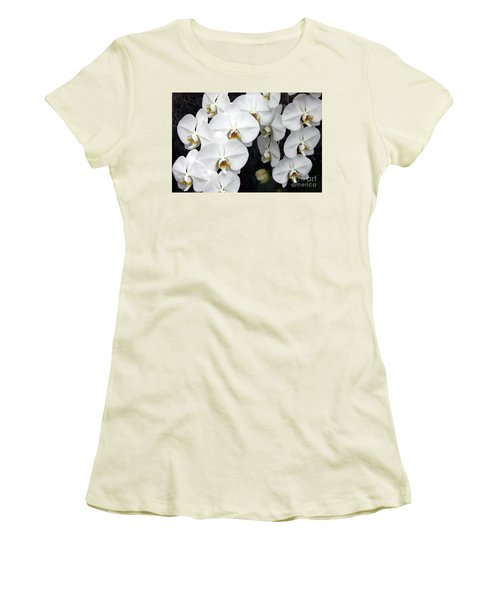 Women's T-Shirt (Junior Cut) featuring the photograph White Orchids by Debbie Hart