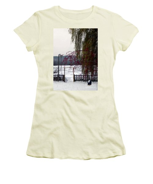 Willows And Berries In Winter Women's T-Shirt (Athletic Fit)