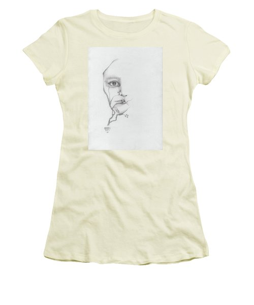 Woman Face Growing Out Of A Tree Branch Black And White Surrealistic Fantasy  Women's T-Shirt (Junior Cut) by Rachel Hershkovitz