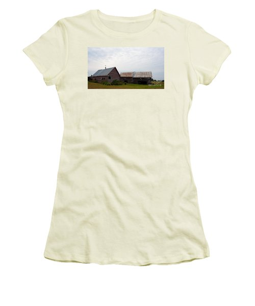 Women's T-Shirt (Junior Cut) featuring the photograph Wood And Log Sheds by Barbara McMahon