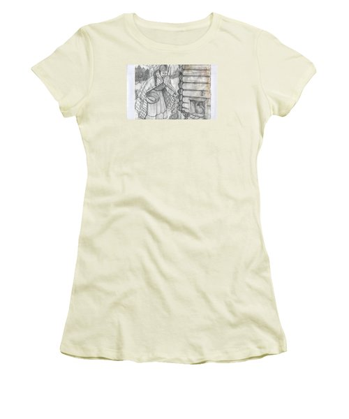 Young Girl Feeding The Chickens In The 1800's Women's T-Shirt (Junior Cut)