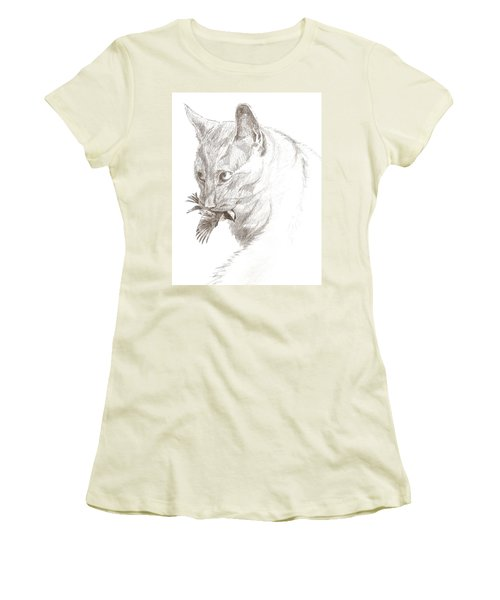 Cat And Chickadee Women's T-Shirt (Athletic Fit)