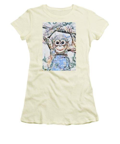 Monkey Rainbow Splattered Fragmented Blue Women's T-Shirt (Junior Cut) by Catherine Lott