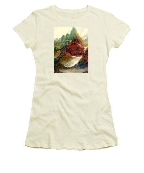 Women's T-Shirt (Junior Cut) featuring the painting  Mountains Fire by Henryk Gorecki