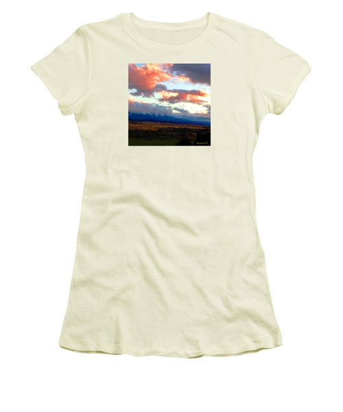 Women's T-Shirt (Junior Cut) featuring the photograph  Sunset Clouds Over Spanish Peaks by Anastasia Savage Ealy